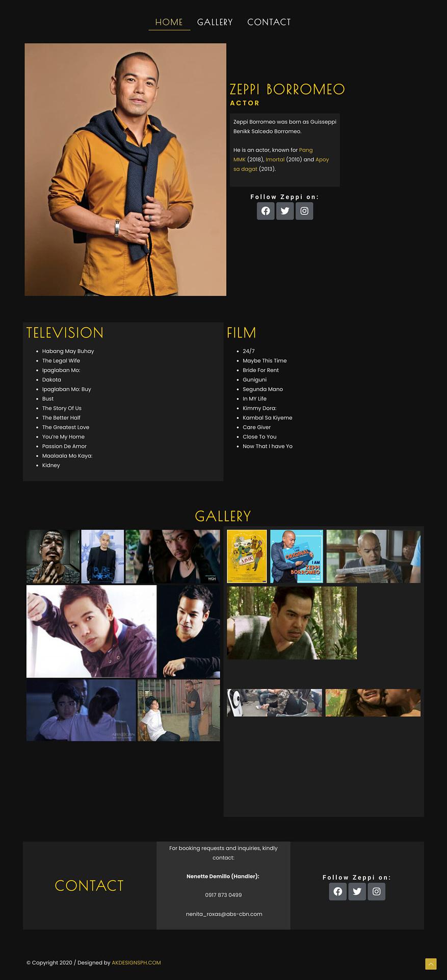 Actor Portfolio Website